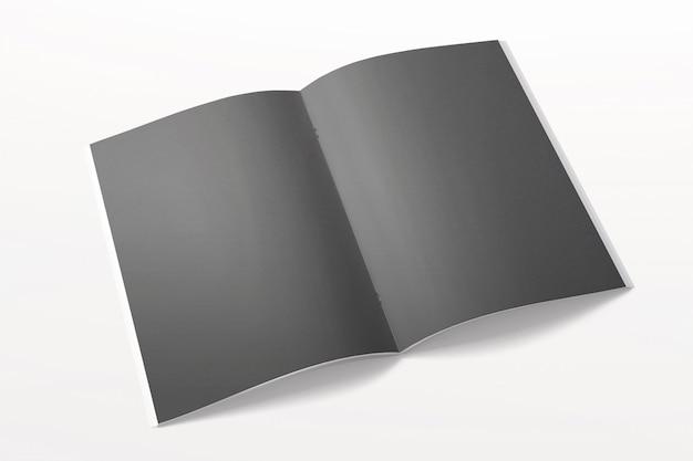 Раскрытый журнал или брошюра изолированные на белизне. черные пустые страницы. Бесплатные Фотографии