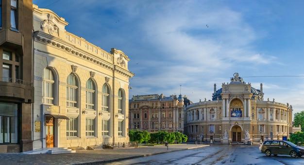 Opera house and theatre square in odessa, ua Premium Photo