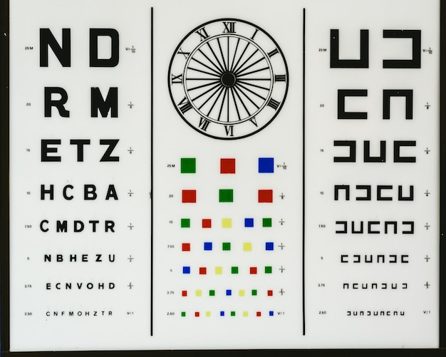 Optometric chart to control vision problems such as myopia, hyperopia, color blindness or astigmatism in an optical clinic. Premium Photo