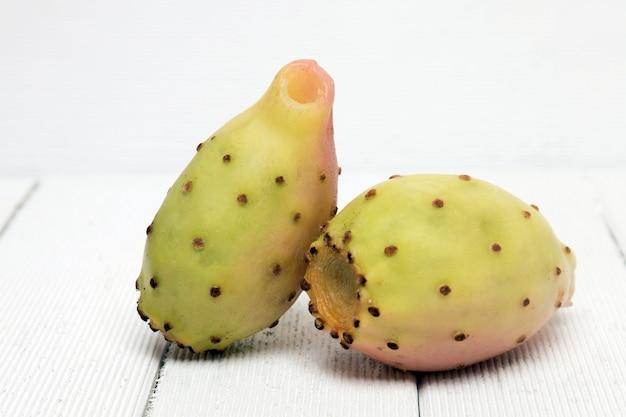 Opuntia ficus-indica cactus fruits on a white background Premium Photo
