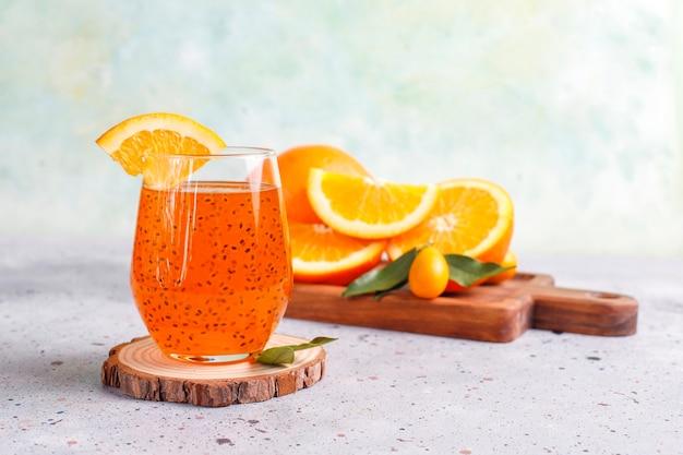 Orange basil seed drink. Free Photo