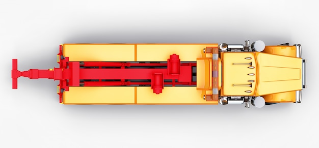 他の大きなトラックを輸送するためのオレンジ色の貨物レッカー車 Premium写真