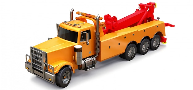 Orange cargo tow truck to transport other big trucks or various heavy machinery. 3d rendering. Premium Photo