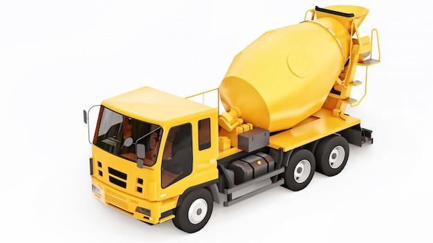 オレンジコンクリートミキサートラックホワイトスペース。建設機械の立体イラストレーション。 3dレンダリング。 Premium写真