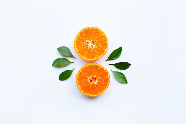 Orange fruits and green leaves on a white background. Premium Photo