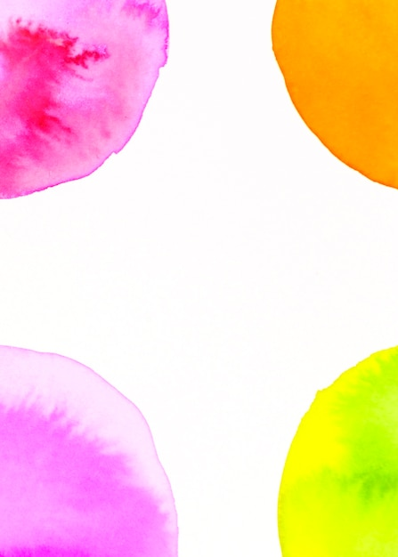 An orange; green; pink arch watercolor design on white backdrop Free Photo