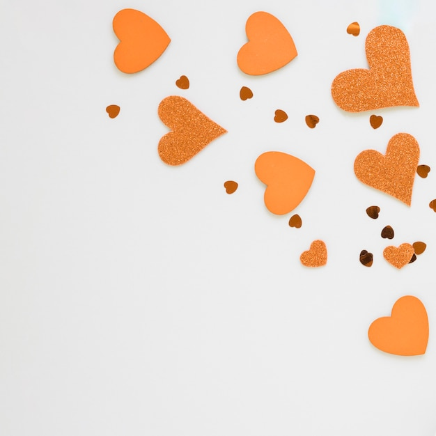 Orange hearts for valentines with copy space Free Photo