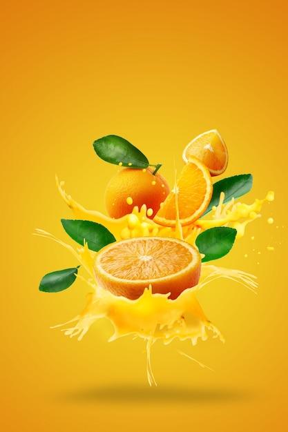Orange juice splashing on fresh sliced over orange Premium Photo