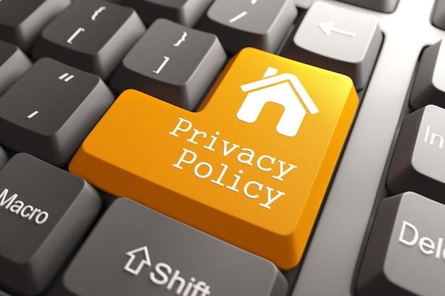 Оранжевая кнопка политики конфиденциальности с домашним значком на клавиатуре компьютера. интернет-концепция. 3d визуализация. Premium Фотографии