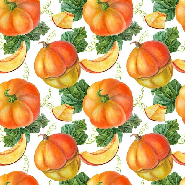 黒の背景にオレンジ色のカボチャ。シームレスパターン。野菜の夏、秋のイラスト。 Premium写真
