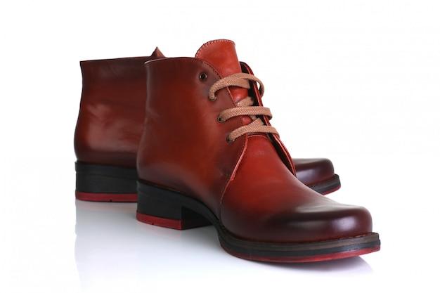 Orange red leather shoes men women Premium Photo