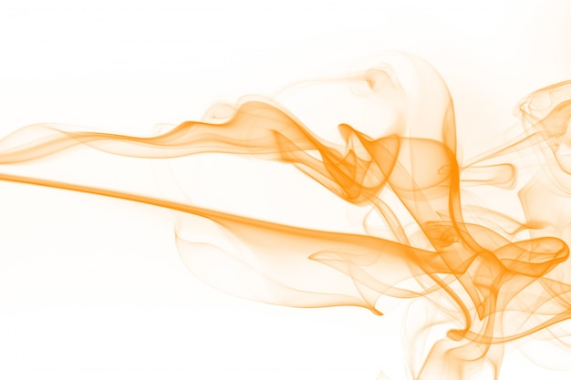 Orange smoke abstract on white background. ink water color Premium Photo