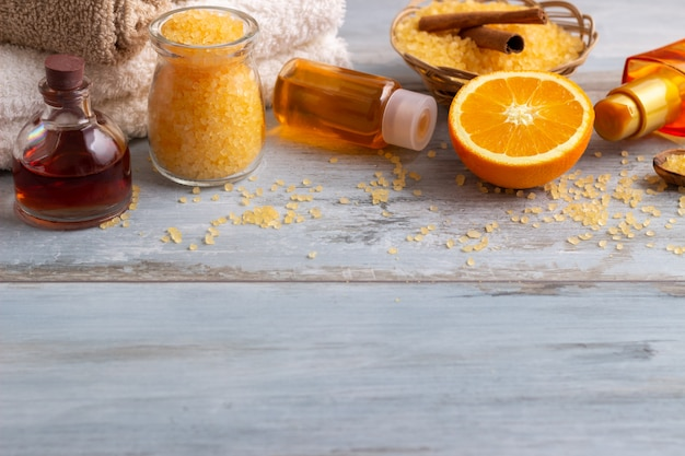 Orange spa and wellness setting Premium Photo