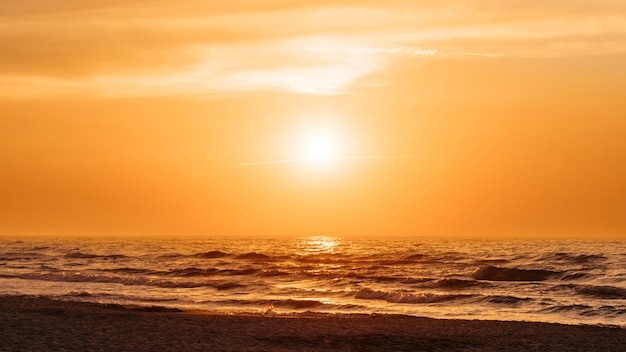 Orange sunset at a beach in the summer Free Photo