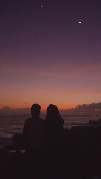 Orange sunset and ocean Free Photo