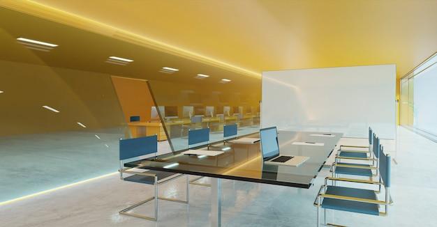 オレンジ色の壁、セメントの床、ガラスのファサードの照明デザイン、空のホワイトボードを備えたモダンな会議室 Premium写真