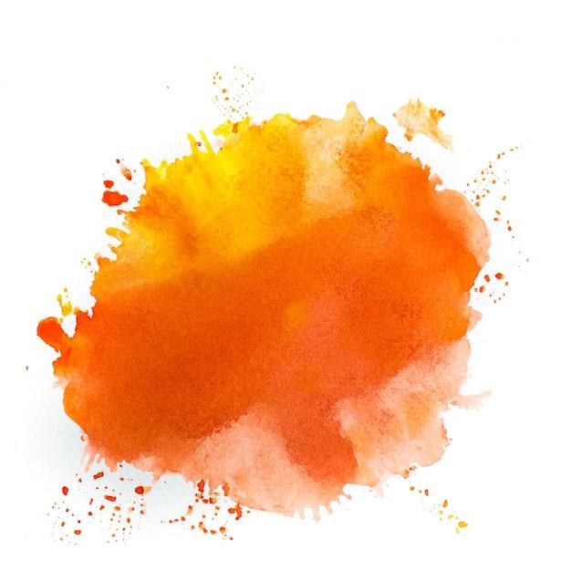 Orange watercolor in white Premium Photo