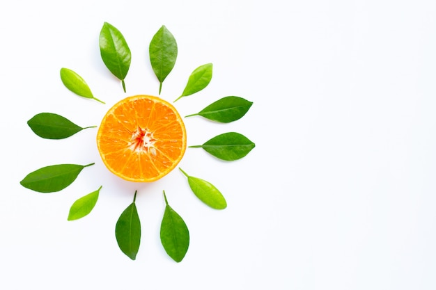 Orange with leave on white background. Premium Photo