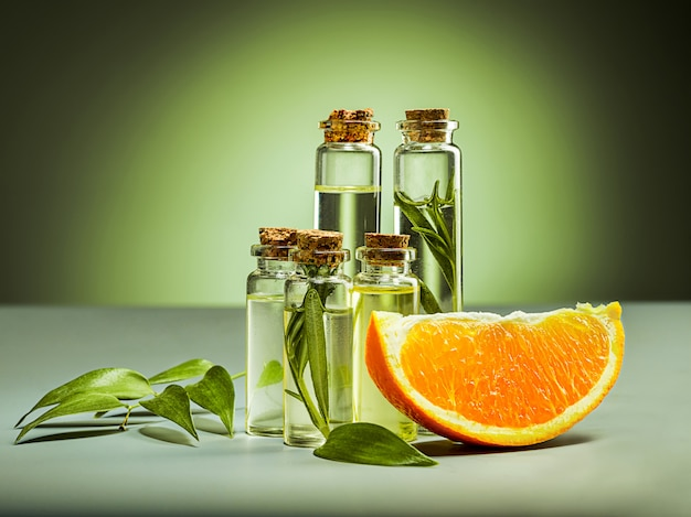 Oranges oil and orange Free Photo
