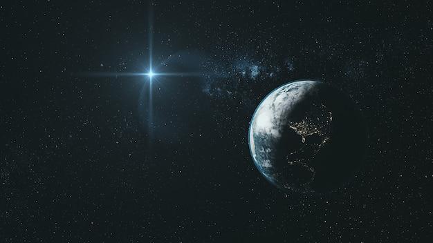 Орбита земли в глубоком космосе со звездой Premium Фотографии