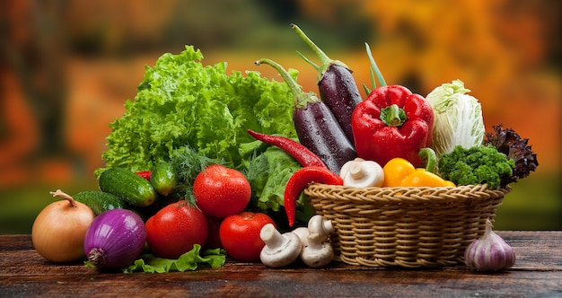 Organic food background vegetables in a basket Premium Photo