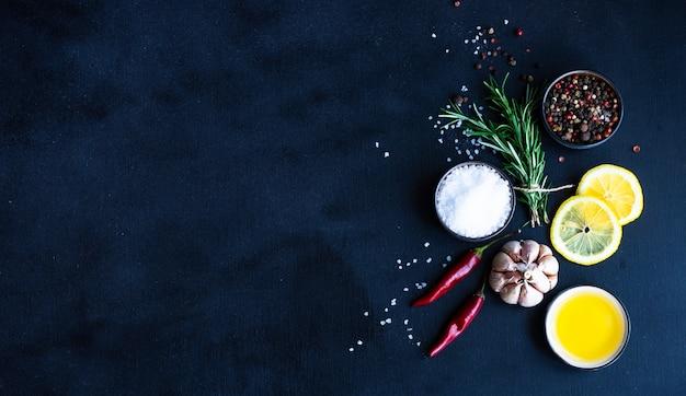 Organic food concept on black background Premium Photo