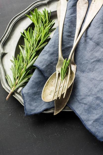 Organic food concept with rosemary Premium Photo