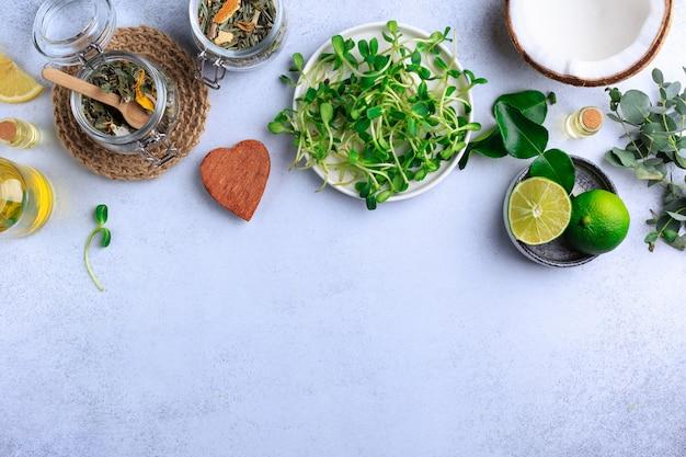 Organic food herbs coconut lime top view Premium Photo