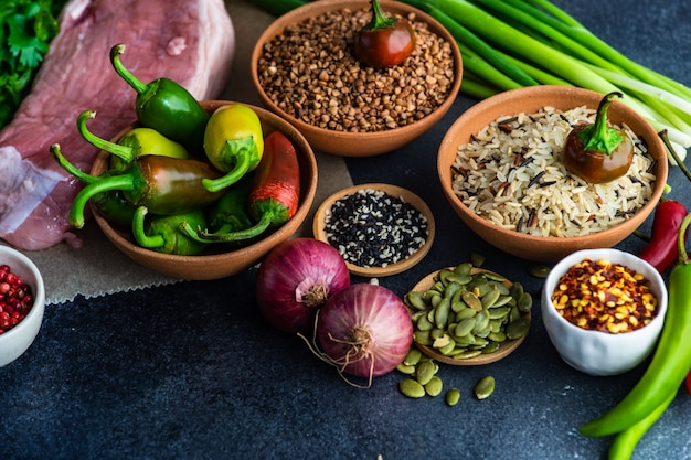 Organic food with meat and cereals Premium Photo