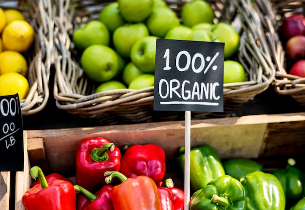 Organic fresh agricultural product at farmer market Premium Photo