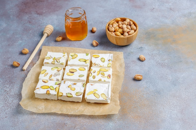 Organic homemade nougat made with honey, pistachio,top view Free Photo