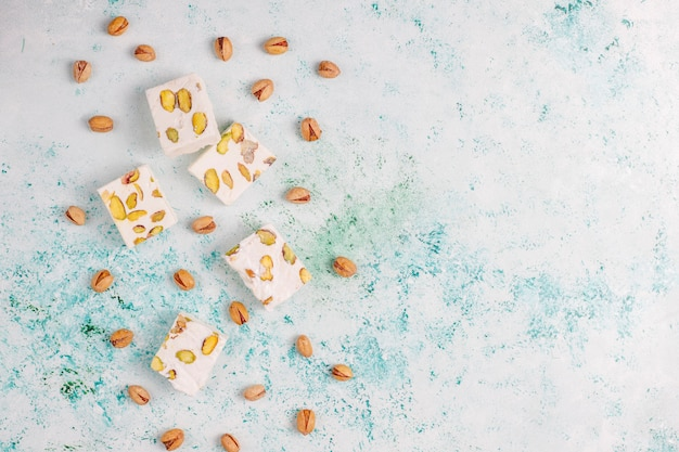 Organic homemade nougat made with honey, pistachio, top view Free Photo