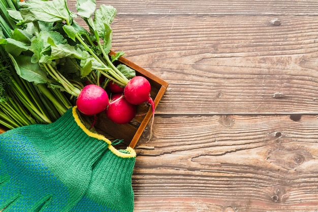 An organic turnip and green gardening gloves in wooden tray over the wooden desk Free Photo