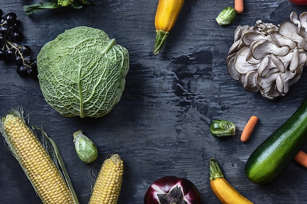 Organic vegetables on wooden table. top view Free Photo