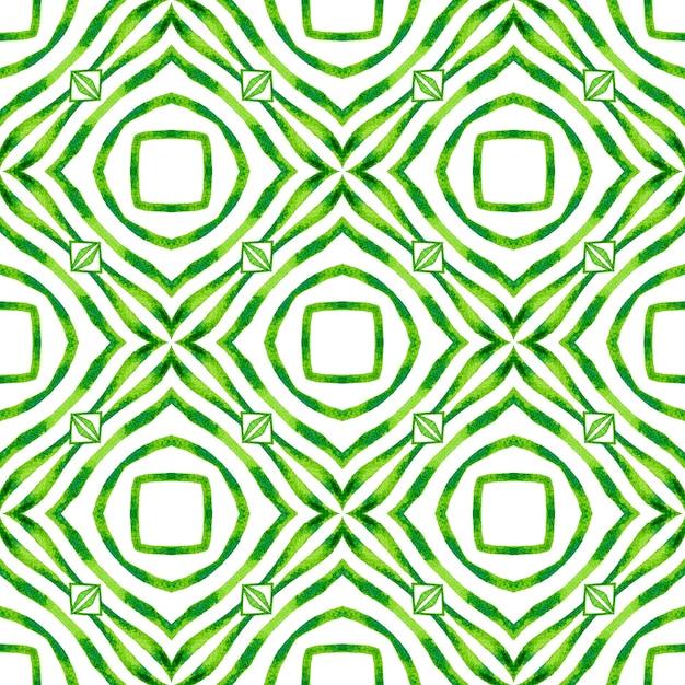 東洋の唐草の手描きの境界線。緑の魅力的な自由奔放に生きるシックな夏のデザイン。アラベスクの手描きデザイン。 Premium写真