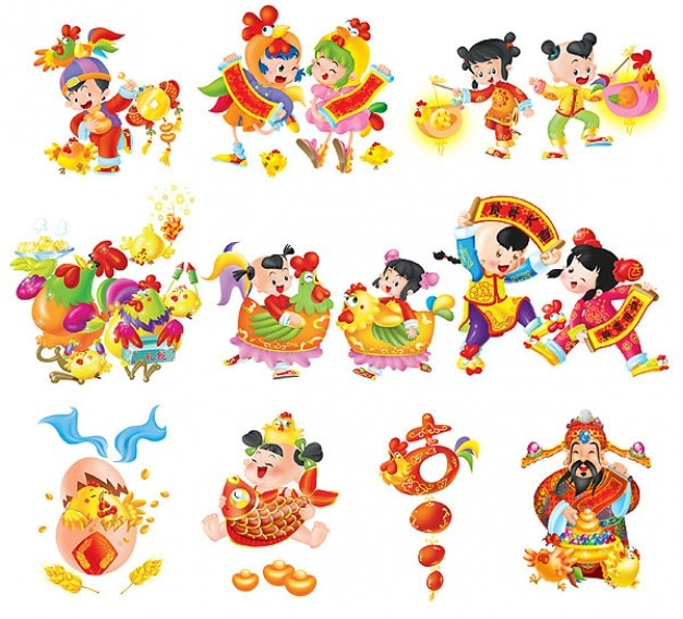 Oriental characters. Year of the rooster festive cartoon
