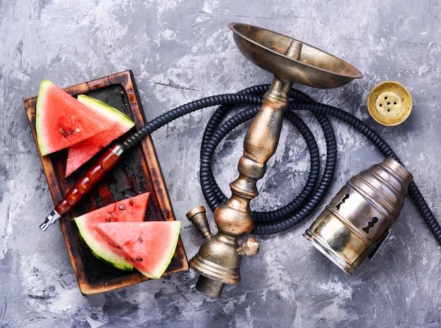 Oriental shisha with watermelon Premium Photo