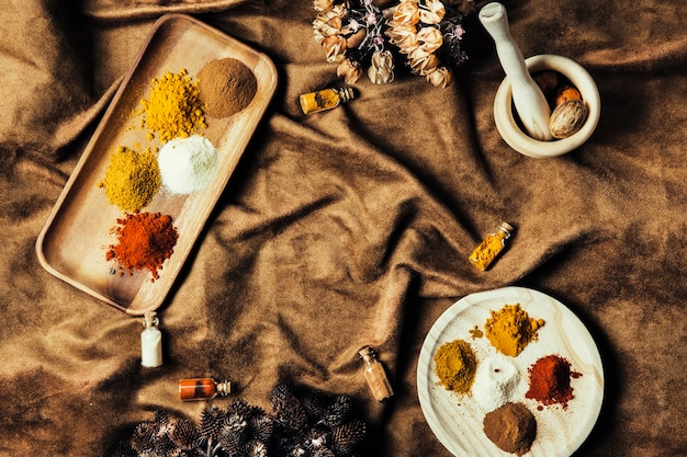 Oriental spices on cloth Free Photo