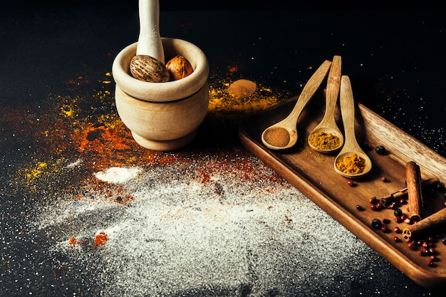 Oriental spices and nutmeg Free Photo