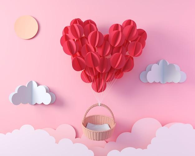 Красный воздушный шар в летании формы сердца с пустой корзиной, искусством бумаги origami дня валентинки для дизайна дисплея, перевода 3d. Premium Фотографии
