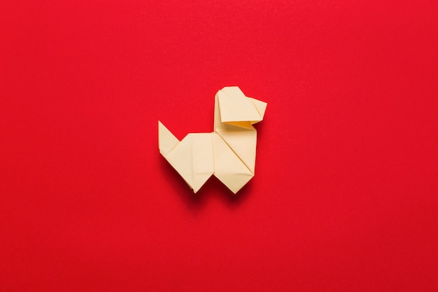 Origami Dog On Red Photo Free Download