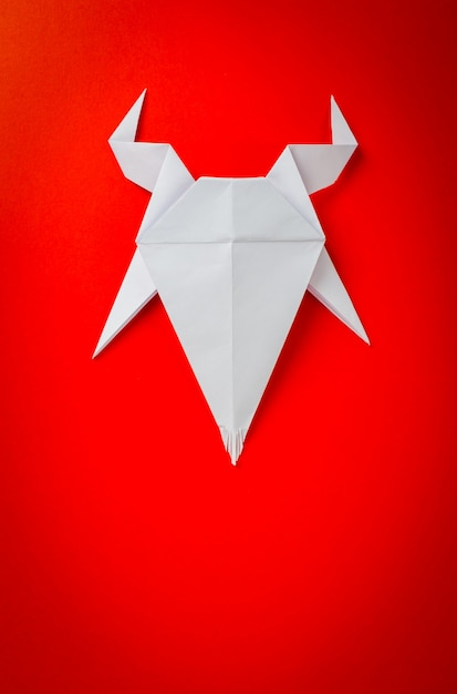 Origami Paper Goat On Red Background New Year Of The Goat 2015
