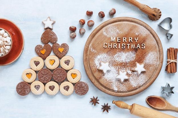Original Christmas Tree Made Of Heart Shape Cookies And