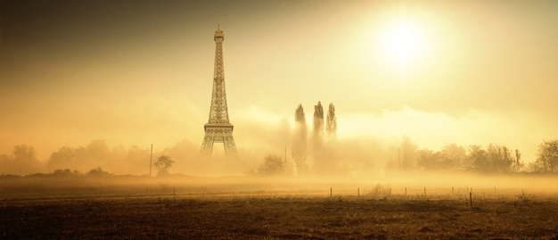 Original country rural landscape with eiffel tower Premium Photo