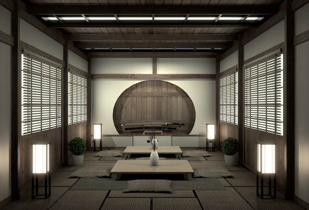 Original room japanese style, showa era , design with the best japanese room designers.3d rendering Premium Photo