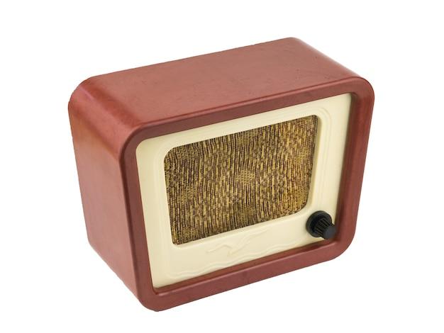 Original vintage radio isolated on white Premium Photo