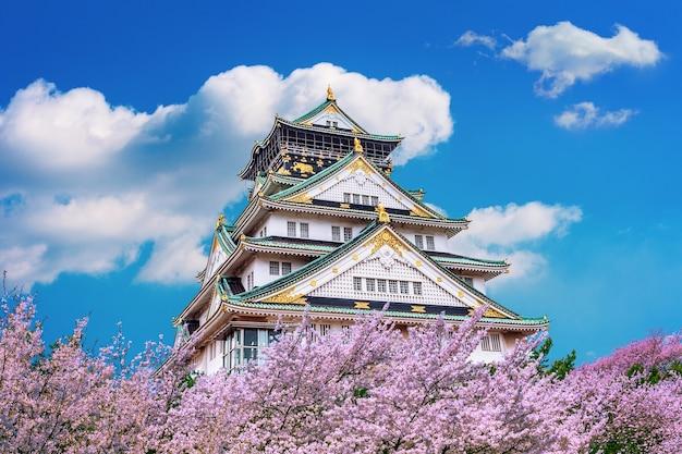 Замок осаки и цветение сакуры весной. сезоны сакуры в осаке, япония. Бесплатные Фотографии