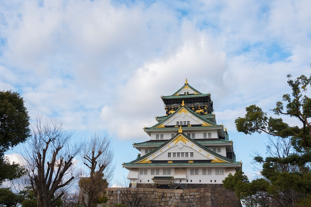 Osaka castle in osaka city with winter leaves, japan. Premium Photo