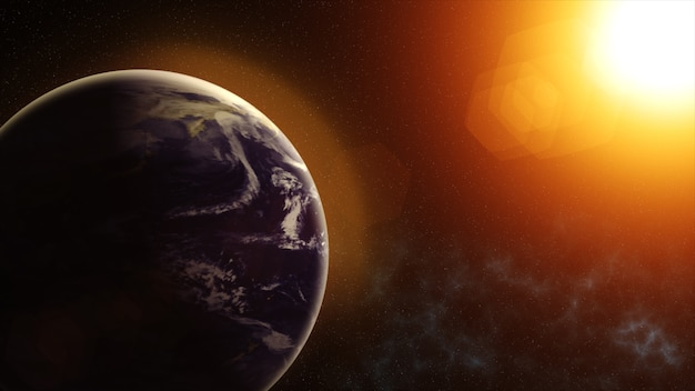 Our planet earth, the sun shines on the planet earth as seen from space Premium Photo