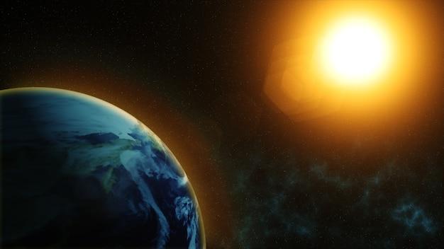 Наша планета земля, солнце светит на планету земля, как видно из космоса Premium Фотографии